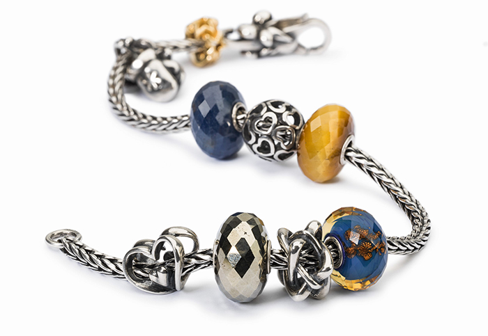 Trollbeads Bracelet with Blue and Gold Beads