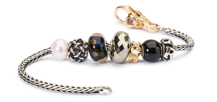 Trollbeads Bracelet with Pyrite, Gold, and Pearl