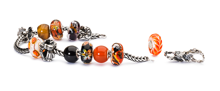 Trollbeads Glass Beads Orange and Black