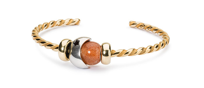 Trollbeads Moon And Starts Twisted Gold Bangle