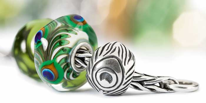 Trollbeads Peacock silver bead and glass bead