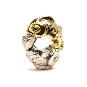 Trollbeads Happy Fish, Silver and Gold