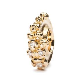 Trollbeads Gold Charm Bougainvillea with Diamonds on Troll Bracelet
