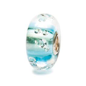 """The Diamond Bead Iceblue #81008 """"Diamonds are a girl's best friend,"""" according to Marilyn Monroe in the 1953 film """"Gentlemen Prefer Blondes"""". Indeed, diamonds have always fascinated us. This crystal orb is embedded with 13 cubic zirconias. The bead is lined with ice blue."""