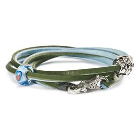 Trollbeads Leather Bracelet, light blue/green, Troll Beads Spring 2013, TrollbeadsAkron.com