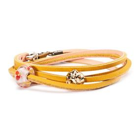 Trollbeads Bracelet, Leather Yellow/Light Pink, New Troll Beads 2013 TrollbeadsAkron.com