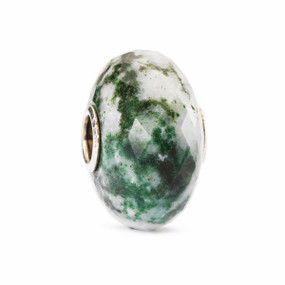 New Trollbeads Spring 2014 Collection, Moss Agate Natural Stone Bead with Silver Core