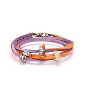 Trollbeads Leather Bracelet Pumpkin/Grape with Beads