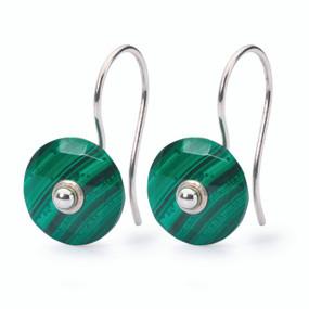 Trollbeads Malachite Earrings with Earring Hooks