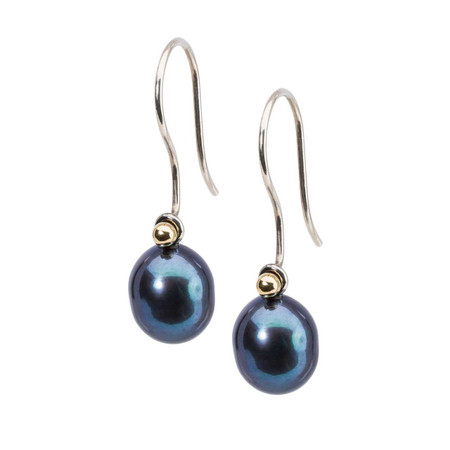 Trollbeads Peacock Pearl Oval Drops On Silver Earring Hooks