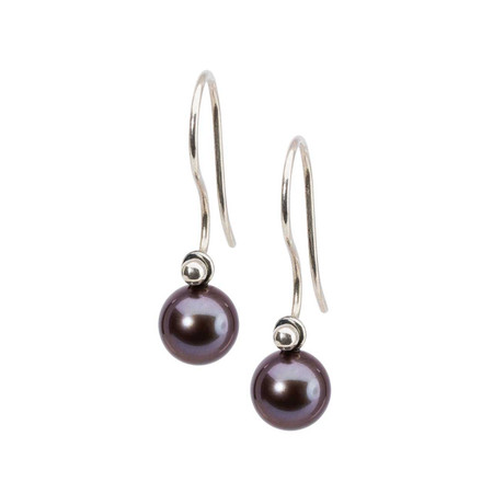 Trollbeads Peacock Pearl Round Drops On Silver Earring Hooks