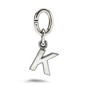 X Jewellery Letter K, Silver Charm