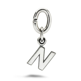X Jewellery Letter N, Silver Charm