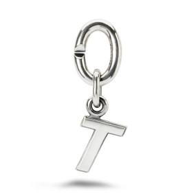 X Jewellery Letter T, Silver Charm