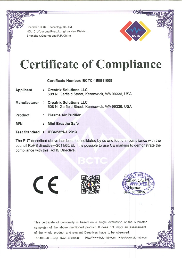 Plasma Air Purifier Certificate of Compliance