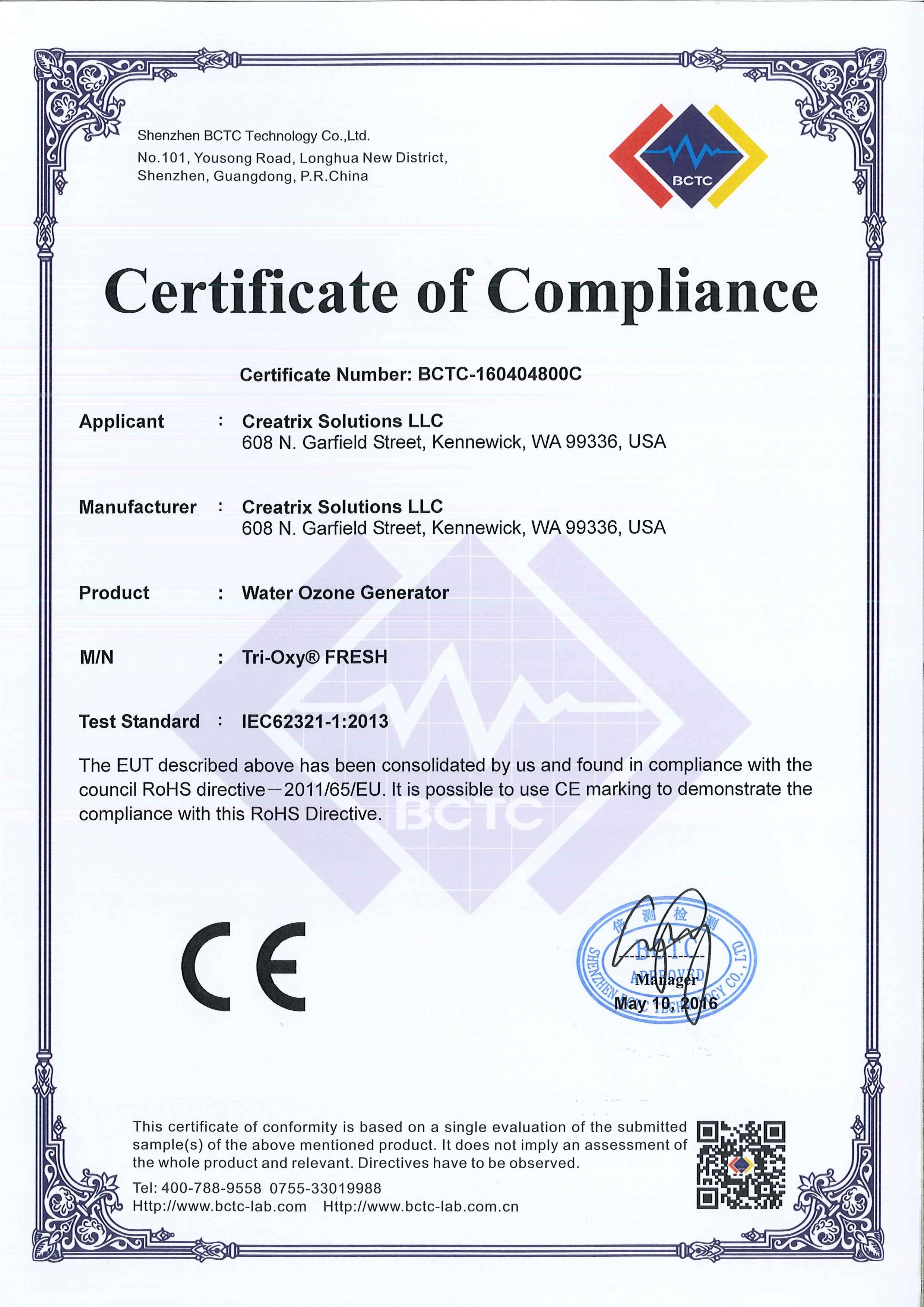 Tri Oxy Fresh Rohs Certificate