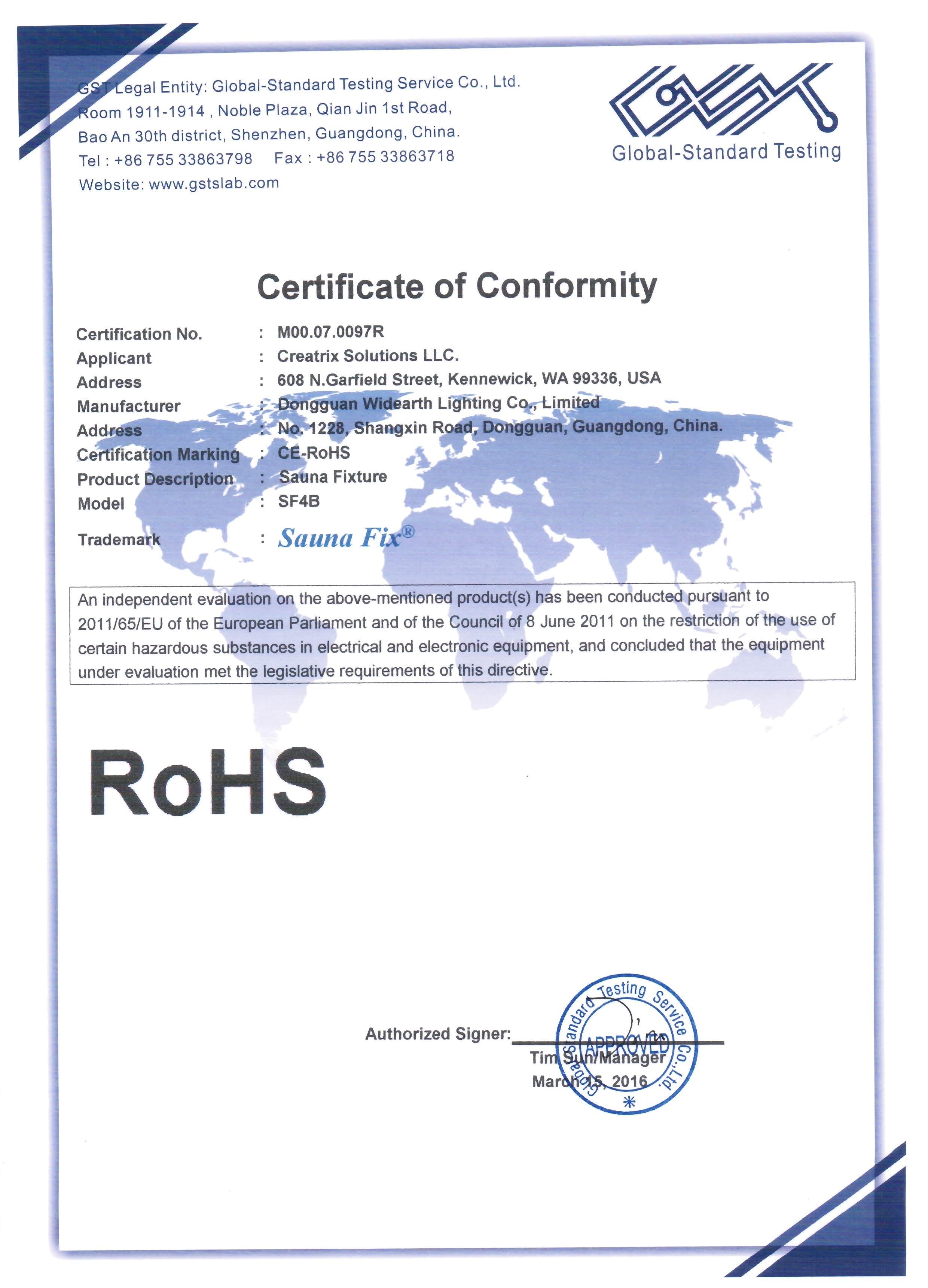 Sauna Fix EU ROHS Certificate