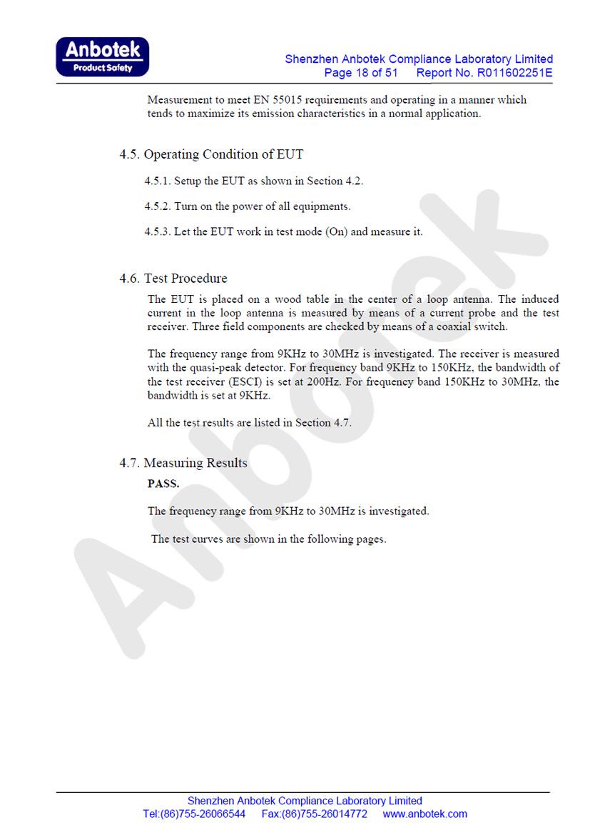 ION Brite EMC Test Report