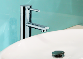 Basin with watermark mixer tap.