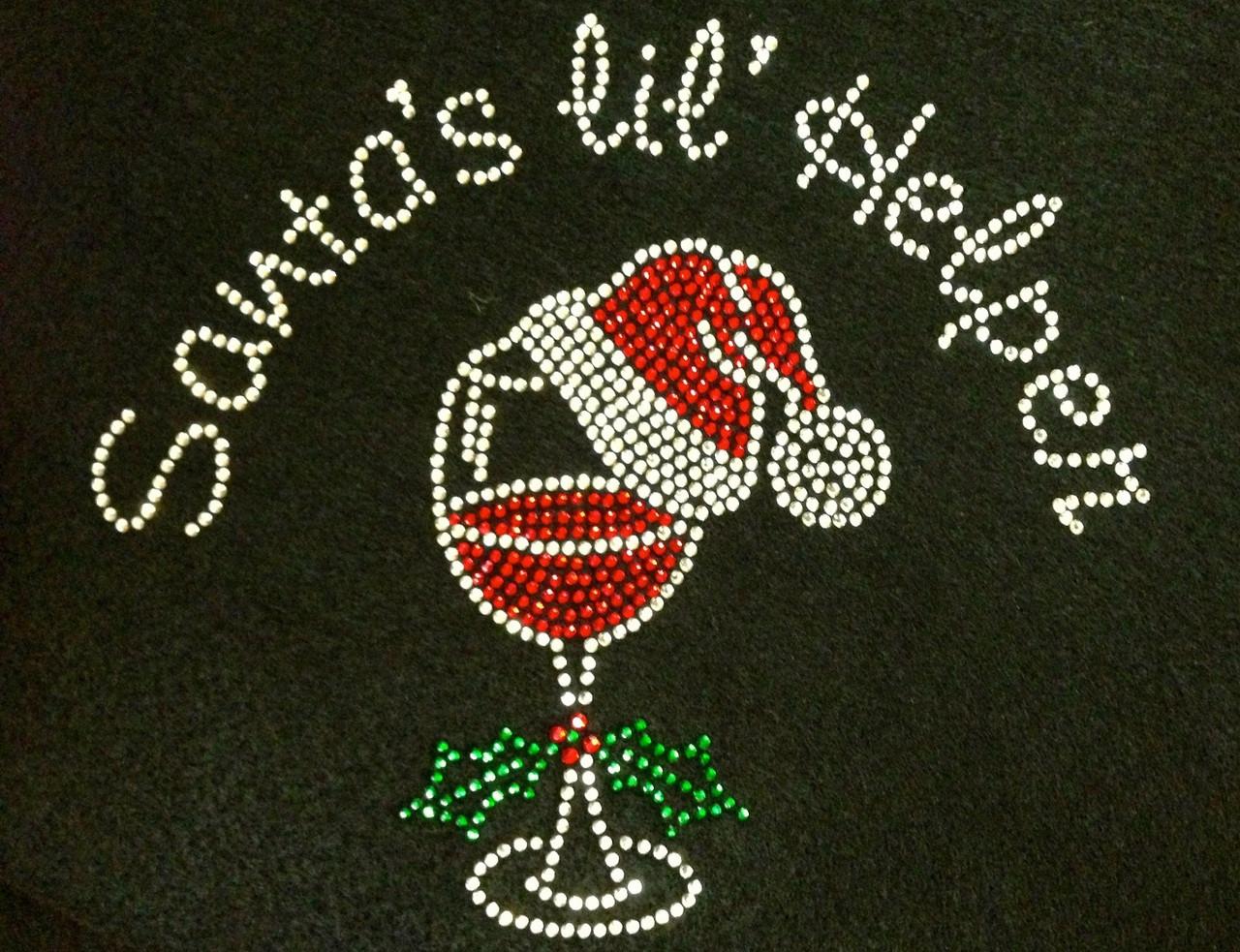 Santa S Lil Helper Over Vine Glass Christmas Rhinestone