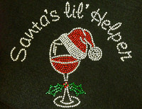 Santa's Lil Helper over Vine Glass Christmas Rhinestone Transfer