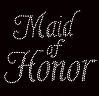 Maid Of Honor Cursive Rhinestone Transfer Iron on