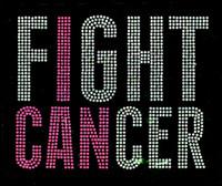 (Fuchsia) Fight Cancer (Text) Rhinestone Transfer Iron on