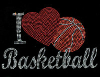 I Love Basketball Red Heart Rhinestone Transfer Iron on