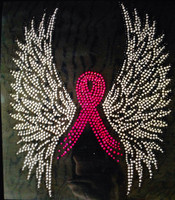 (Fuchsia) Wing Up Breast Cancer Ribbon Awareness Rhinestone Transfer