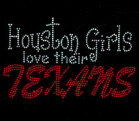 Houston Girls Love Their Texans Rhinestone Transfer Iron on