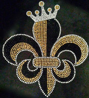 Fleur De Lis Crown FDL Rhinestone Transfer Iron on