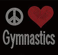 Peace Love Gymnastics Rhinestone Transfer Iron on