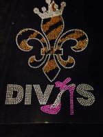 Fleur De Lis Crown Divas Heel Stiletto FDL Rhinestone Transfer
