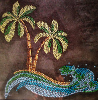 Palm Tree in the sea Tropical Rhinestone Transfer Iron on