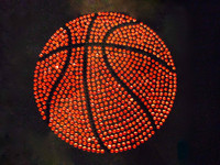 "Basketball Ball 6"" Rhinestone Transfer Iron on"