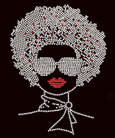 "Afro Lady With Goggles 11""(H) x 8.4""(W) Google Clear Rhinestone Transfer"