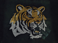 Tiger Face side Brown Rhinestone Transfer Iron on