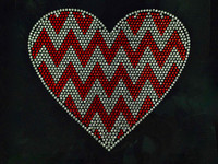 Chevron Heart Rhinestone Transfer Iron on