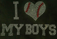 I Love My Boys Baseball 11 Rhinestone Transfer Iron on