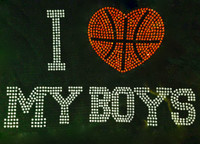 I Love My Boys Basketball 11 Rhinestone Transfer Iron on