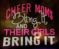 Cheer Moms Bling it and their GIRLS bring it (FUCHSIA Hot Pink) Rhinestone Transfer