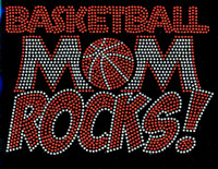 Basketball Mom Rocks Rhinestone Transfer Iron On
