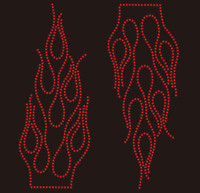 (2 qty) Fire Flame RED Rhinestone Transfer Iron on