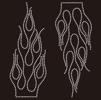(2 qty) Fire Flame (Clear) Rhinestone Transfer