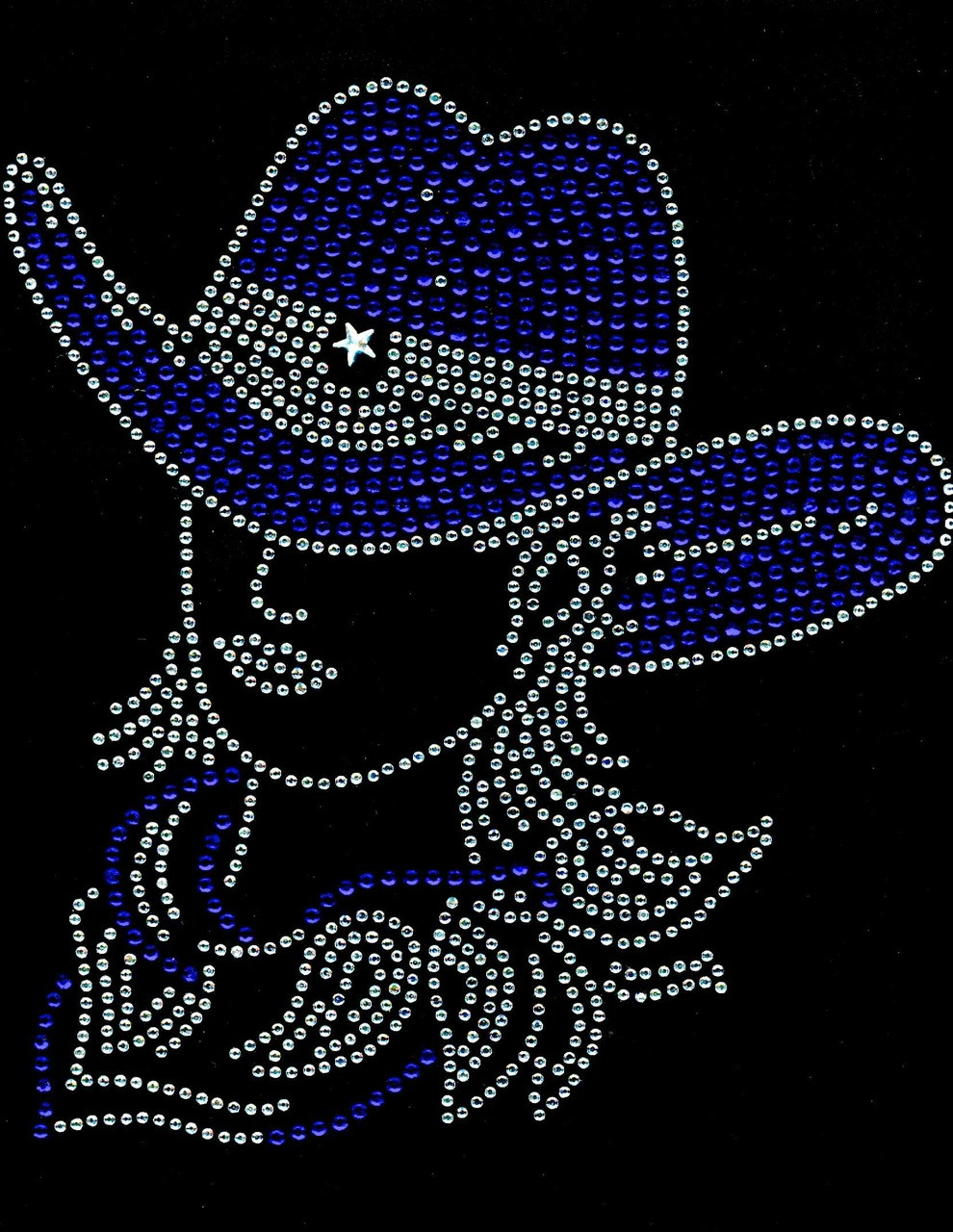 ec7c2d58e033d ... Cowgirl With Hat Cobalt Blue White outline Rhinestone Transfer. Image  1. Loading zoom