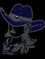 Cowgirl With Hat Cobalt Blue White outline Rhinestone Transfer