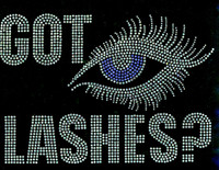 Got Lashes Blue eyes Rhinestone Transfer Iron On