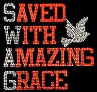 Saved with Amazing Grace Red Rhinestone Transfer Iron on