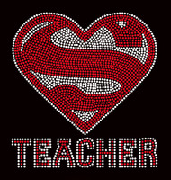 Super Teacher School Rhinestone transfer iron on