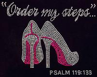 Order my steps (Fuchsia) Heels Stiletto PSALM 119:133 Rhinestone Transfer